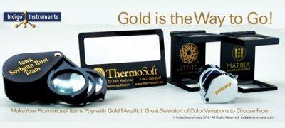 Metallic gold logos on promotional magnifiers.